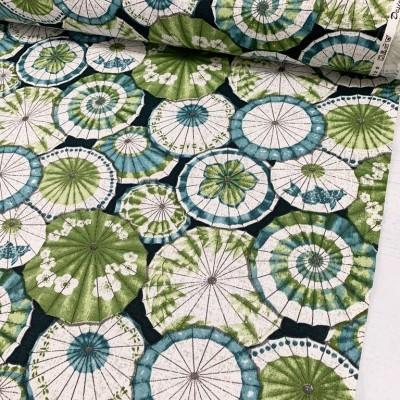 Плат за плътна завеса и дамаска с японски чадъри в зелено