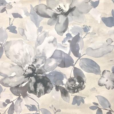 Плат за плътна завеса тип кадифе с флорален десен в сиво