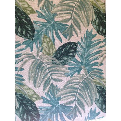 Curtain with tropical leaves in turquoise