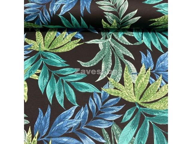 Плат за плътна завеса и дамаска с тропически листа на черен фон