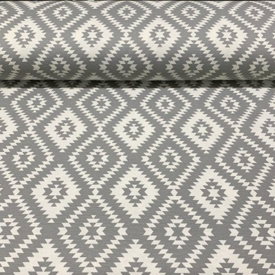 Curtain and upholstery with rhombuses in grey and white