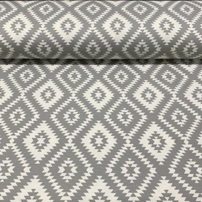 Плат за плътна завеса и дамаска с ромбоиди в сиво и бяло