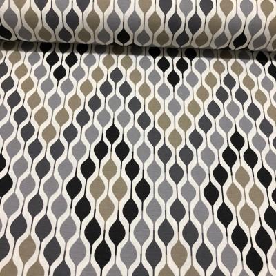 Дамаска с геометрични форми в сиво и бежово