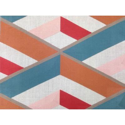 Плат за плътна завеса с бродерия Angle в оранжево и синьо