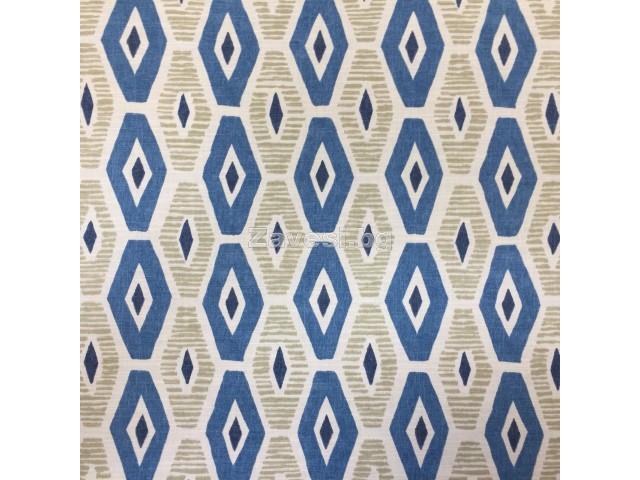 Плат за плътна завеса с ромбоидни форми в синьо