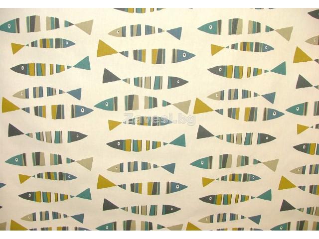 Плат за плътна детска завеса с шарени рибки