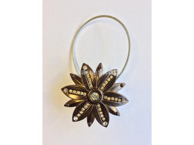 Магнитна щипка за пердета и завеси Цвете в антично злато