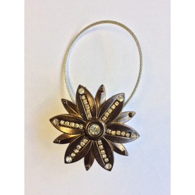 Decorative magnet for curtains Flowers in antique gold