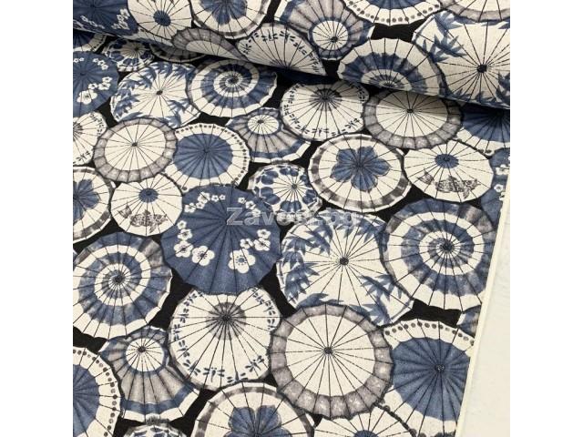 Плат за плътна завеса и дамаска с японски чадъри в синьо