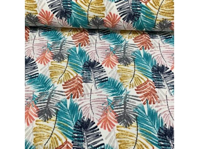 Плат за плътна завеса и дамаска с листа в различни цветове