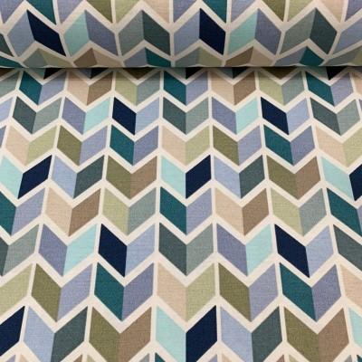 Плат за плътна завеса и дамаска геометрия в синьо