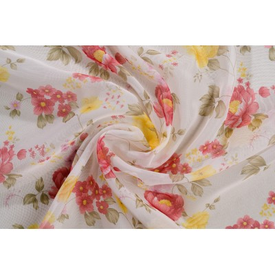 Voile curtain with roses in red and yellow