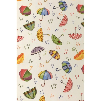 Curtain with colorful umbrellas