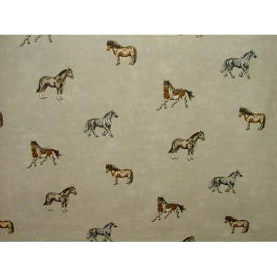 Curtain with horses on beige background