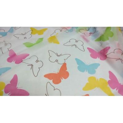 Плат за тънко детско перде цветни пеперуди