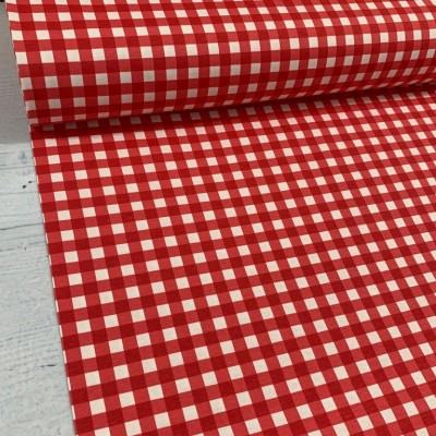 Curtain and upholstery with square in red