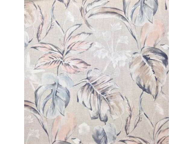 Плат за плътна завеса с тропически листа и цветя в пастелни цветове