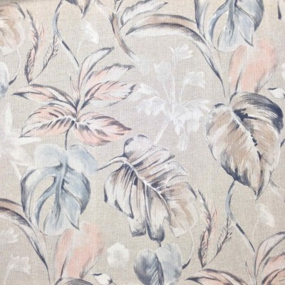 Curtain with tropical leaves and flowers in pastel colours