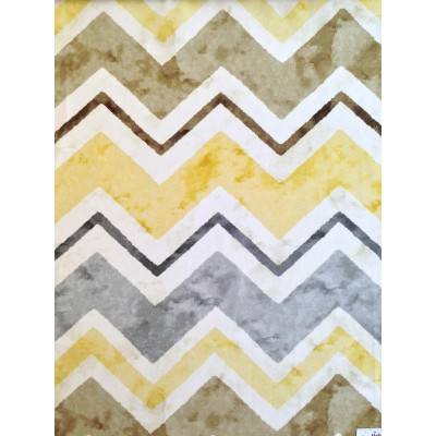 Curtain with colorful zig-zag in yellow and grey