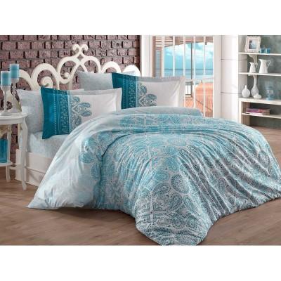 Двоен спален комплект от поплин с орнаменти в тюркоаз