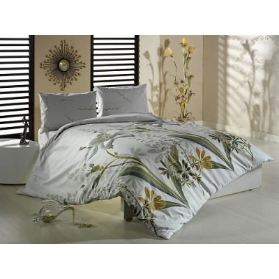 Единичен спален комплект ранфорс с флорален десен