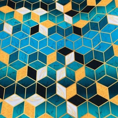 Плат за плътна завеса и дамаска с дигитален печат Кубове