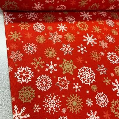 Коледен плат с дигитален печат в червено с бели снежинки