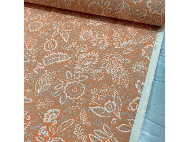 Плат за плътна завеса и дамаска с флорални мотиви на оранжев фон