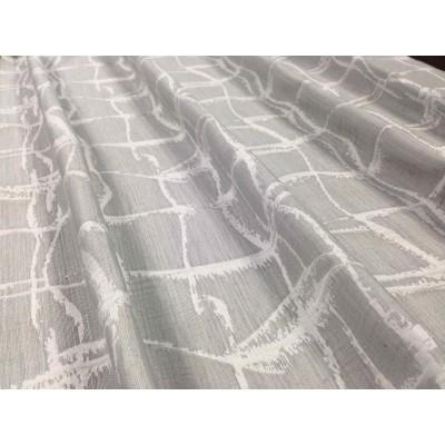 Плат за плътна завеса в светло сиво с бели линии