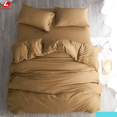 Едноцветен двоен спален комплект ранфорс в светло кафяво