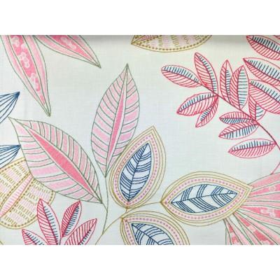 Плат за плътна завеса с бродирани листа в розово