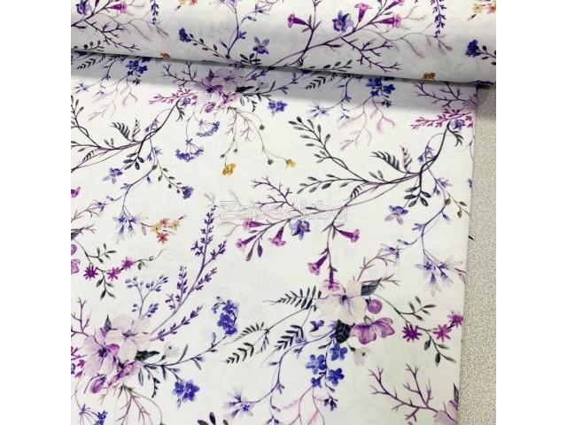 Плат за плътна завеса и дамаска с нежен флорален десен в лилаво