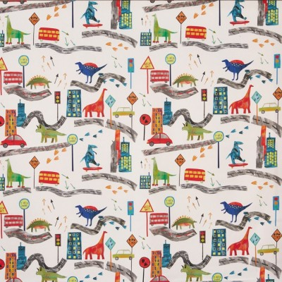 Curtain for children with dinosaurs