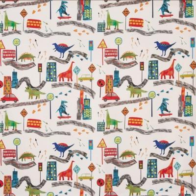 Плат за плътна детска завеса с динозаври