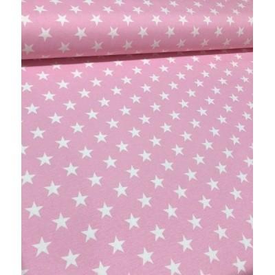 Плат за плътна завеса и дамаска с бели звезди на розов фон