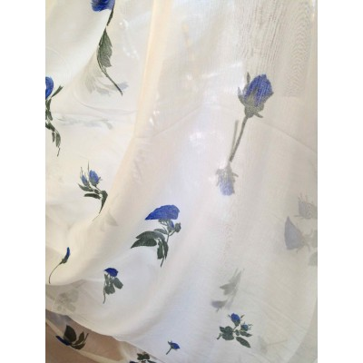 Curtain with dark blue flowers