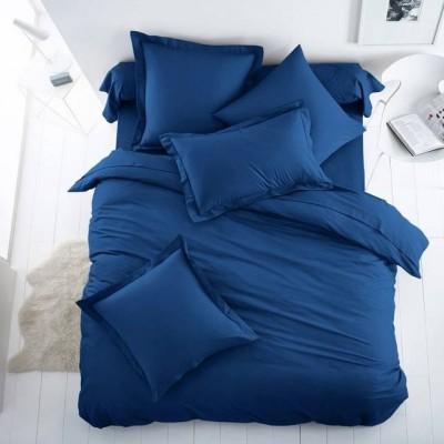 Едноцветен двоен спален комплект ранфорс в тъмно синьо