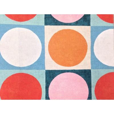 Плат за плътна завеса и дамаска Домино в оранжево, розово, синьо и зелено