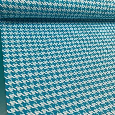 Плат за плътна завеса и дамаска Пепит в цвят синьо