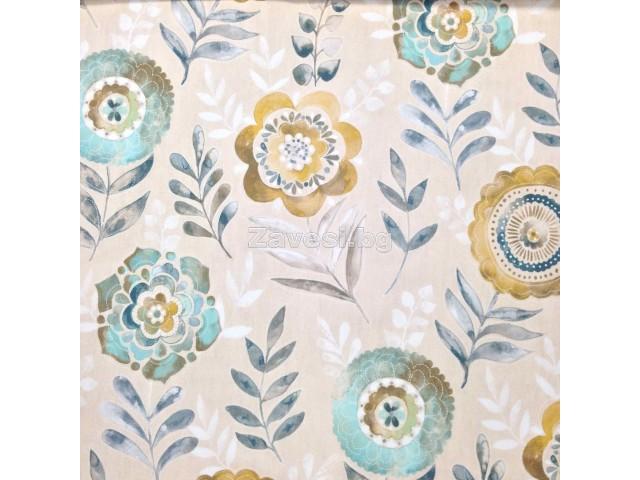 Плат за плътна завеса със стилизирани цветя в тюркоаз и цвят горчица