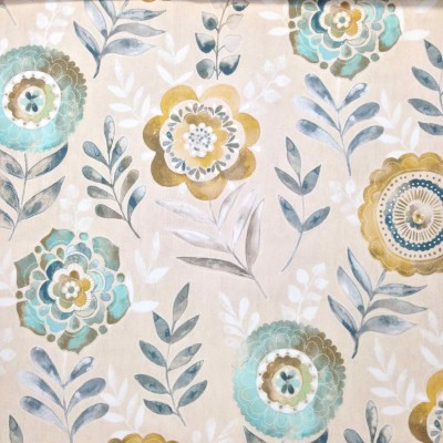 Curtain with stylized flowers in yellow and turquoise