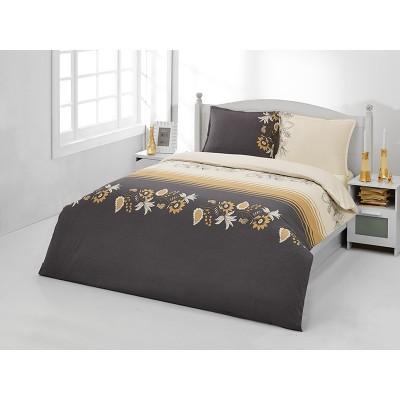 Единичен спален комплект ранфорс в бежово и кафяво