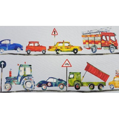 Curtain for children Cars on grey background