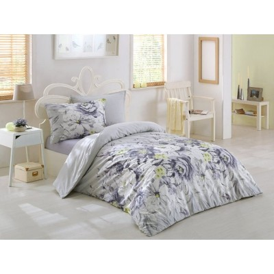 Единичен спален комплект ранфорс с цветя в лилаво