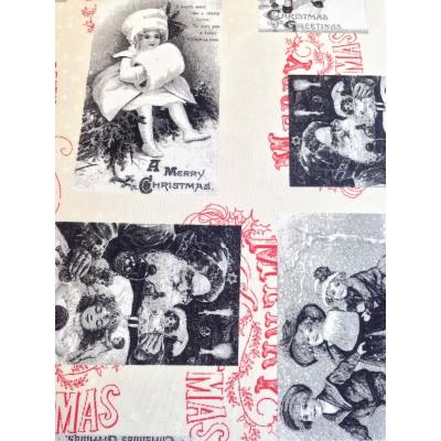 Коледен плат за покривки с ангелчета в сиво и червено
