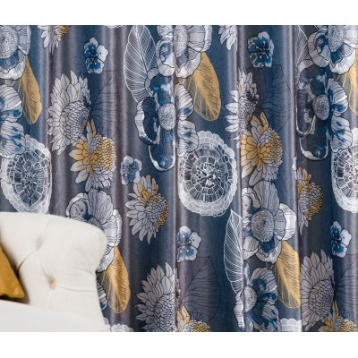 Plush curtain in dark grey with flowers