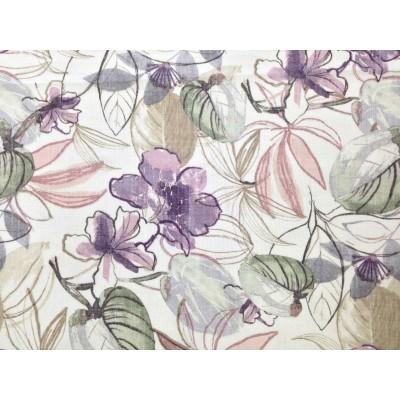 Плат за тънко перде с цветя в лилаво