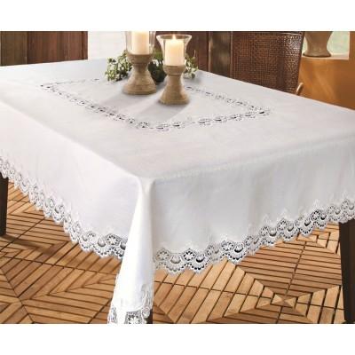 Покривка за маса бяла с дантела 150/225
