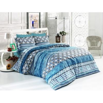 Двоен спален комплект с два плика ранфорс Лина в синьо