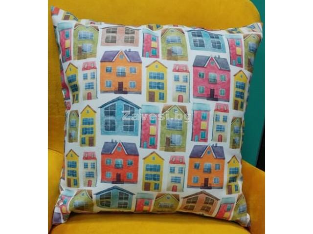 Калъфка за декоративна възглавничка Цветни къщи с размер 43/43